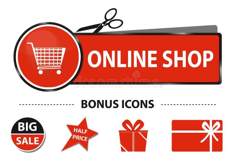De online Knoop van het Winkelweb met Boodschappenwagentje en Bonuspictogrammen - Vectorstickerillustratie met Schaar en Besnoeii stock illustratie