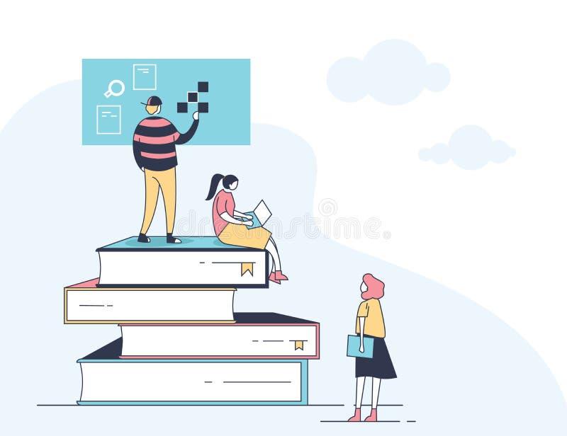 de online lerende uiterst kleine mensen van de cursus vlakke dunne lijn zitten op het boek stock illustratie