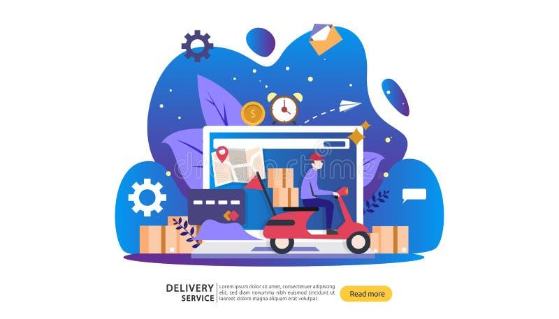 De online leveringsdienst orde uitdrukkelijk het volgen concept met uiterst kleine karakter en ladingsdoosvrachtwagen malplaatje  royalty-vrije illustratie