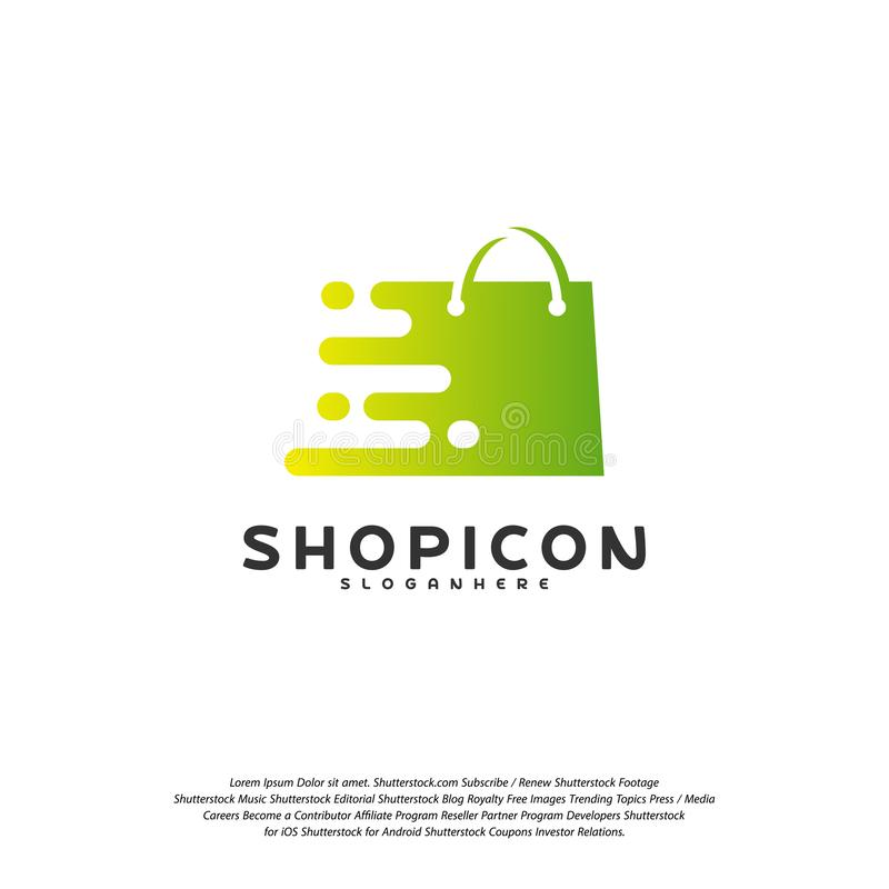 De online Markt Logo Template Design Vector, Pixelwinkel Logo Design Element van de Winkelopslag royalty-vrije illustratie