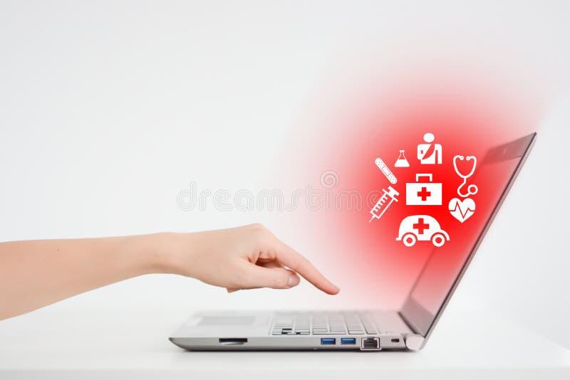 De online medische diensten die een Internet-platform met behulp van royalty-vrije stock afbeeldingen