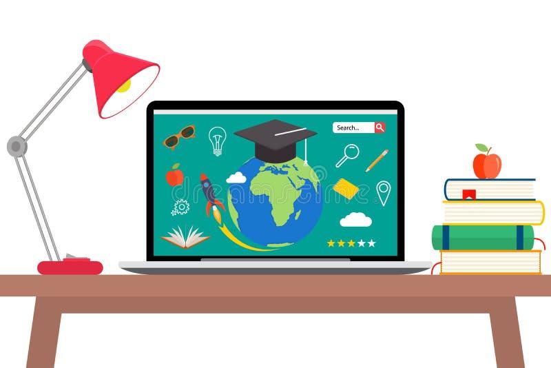 De online onderwijs vlakke horizontale die banner met afstandsleerprogramma's en opleidingselementen wordt geplaatst isoleerde ve stock illustratie