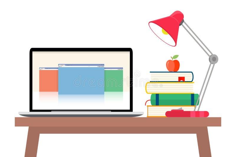 De online onderwijs vlakke horizontale die banner met afstandsleerprogramma's en opleidingselementen wordt geplaatst isoleerde ve vector illustratie