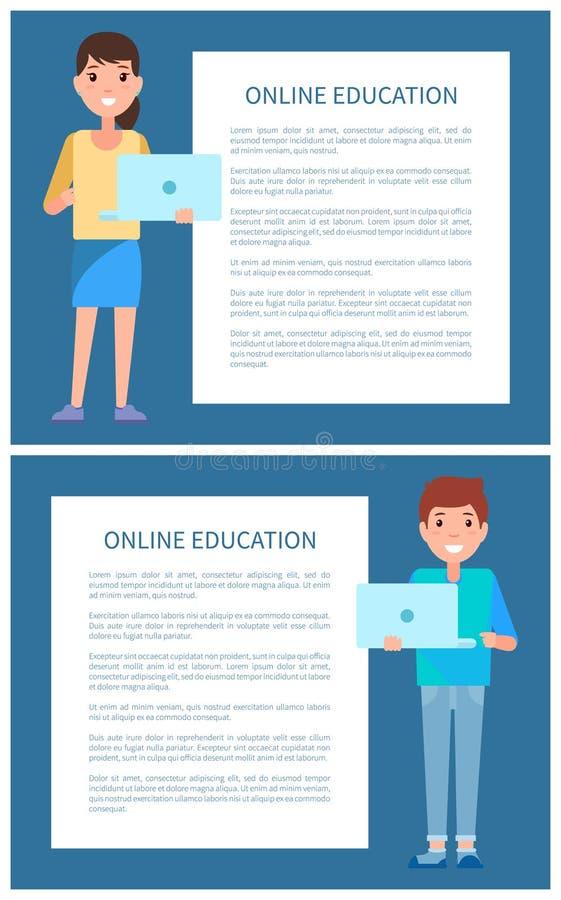 De online Onderwijsaffiche voegt Tekst, de Mens en Vrouw toe vector illustratie