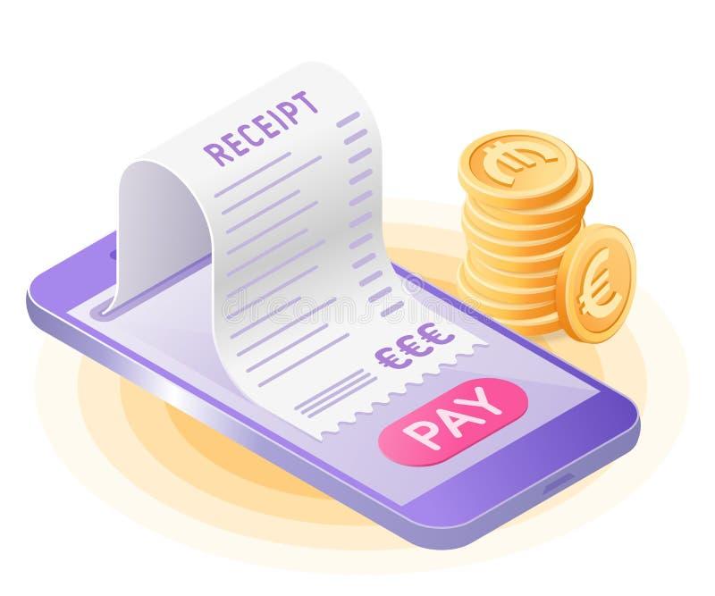 De online rekeningsbetaling met slimme telefoon Vlakke vector isometrisch stock illustratie