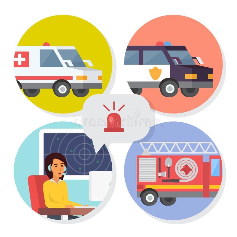 De online steun van het noodoproepcentrum Telefoonexploitant voor ziekenwagen, brandweerkorps of politiehulp Vlakke ontwerpvector royalty-vrije illustratie
