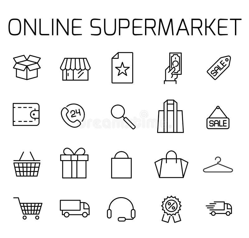 De online supermarkt bracht vectorpictogramreeks met elkaar in verband vector illustratie