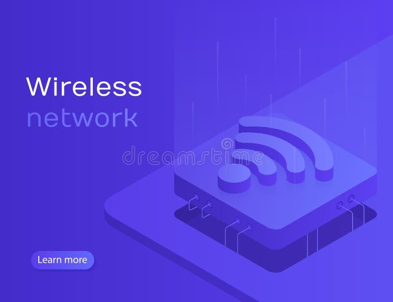De de online synchronisatie en verbinding van IOT via smartphone draadloze technologie Draadloos netwerk royalty-vrije illustratie