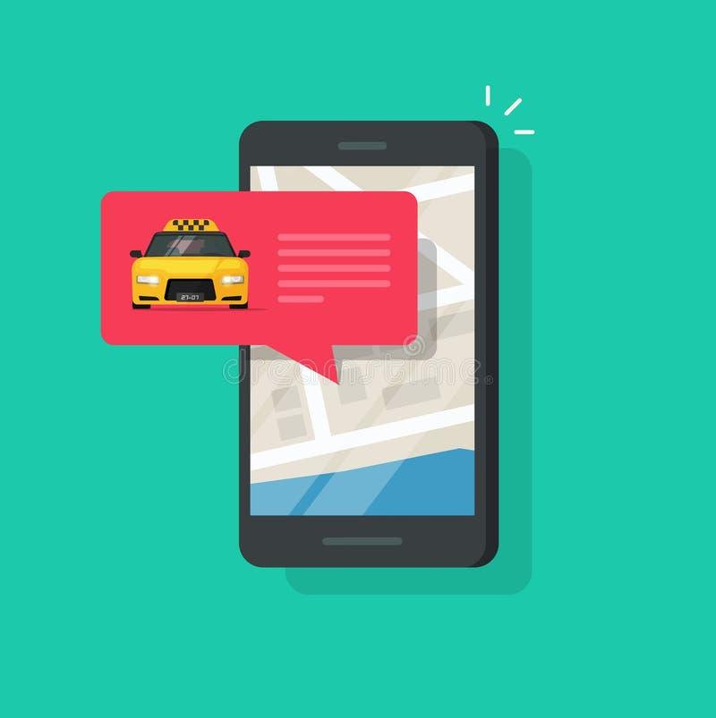 De online taxidienst op mobiele telefoon vectorillustratie, vlakke kartonstijl van smartphone, taxi in bel vector illustratie