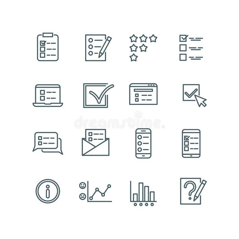 De online test, Internet-quiz, vragenlijst, onderzoek, examen, ondervraagt dunne lijn vectorpictogrammen royalty-vrije illustratie