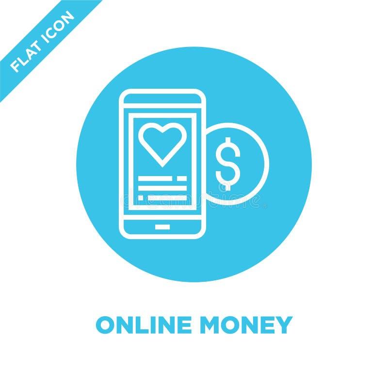 de online vector van het geldpictogram van de inzameling van liefdadigheidselementen De dunne van het het overzichtspictogram van royalty-vrije illustratie