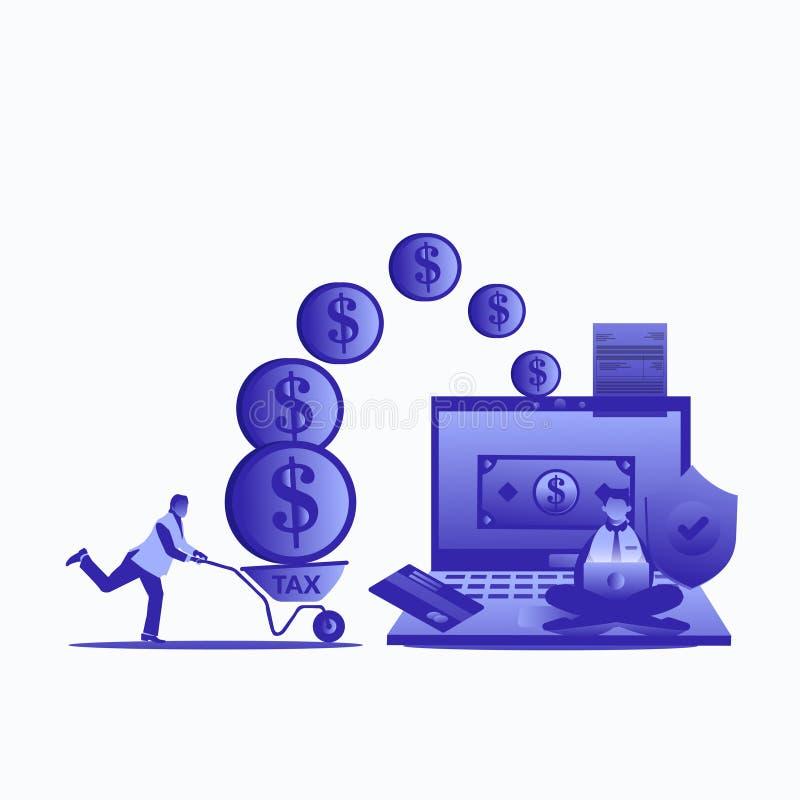 De online vectorillustratie van de Belastings Vlakke stijl voor website vector illustratie