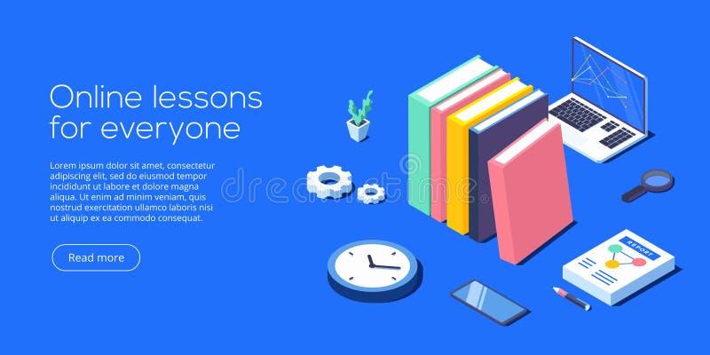 De online vectorillustratie van het onderwijsconcept in isometrisch ontwerp royalty-vrije illustratie
