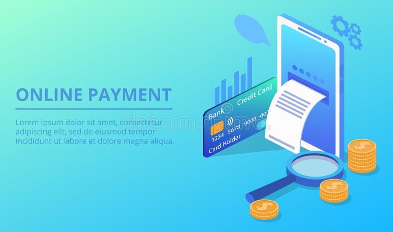 De online vectorillustratie van de smartphonebetaling stock illustratie