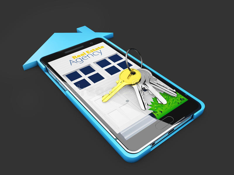 De online verkoop van Real Estate of huurconcept Mobiel app malplaatje isoalted zwarte, 3d Illustratie royalty-vrije stock foto
