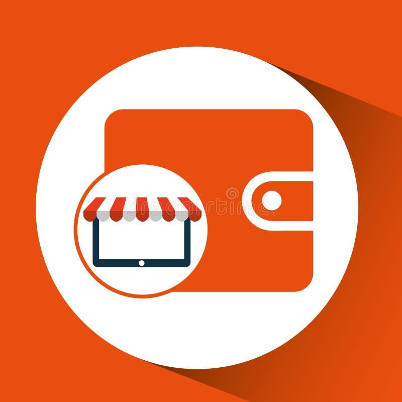 De online winkel bewaart het ontwerppictogram van de geldportefeuille stock illustratie