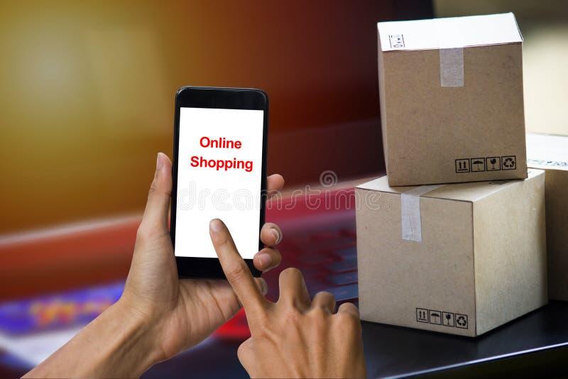 De online winkelende de leverings kopende dienst van de conceptenelektronische handel Squa stock afbeelding