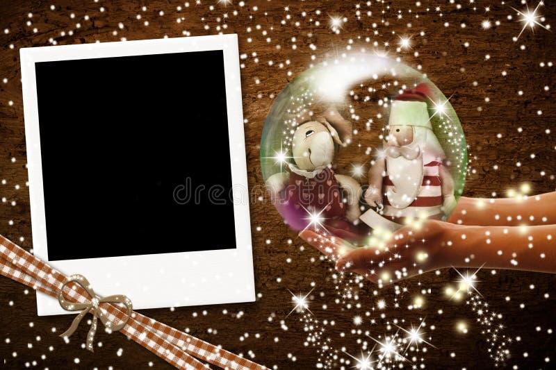 De onmiddellijke Kerstkaarten van het fotokader stock foto's