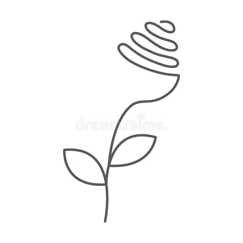 De ononderbroken lijn nam met bladeren toe Abstracte moderne decoratie, embleem Vector illustratie Één lijntekening van bloemvorm stock illustratie