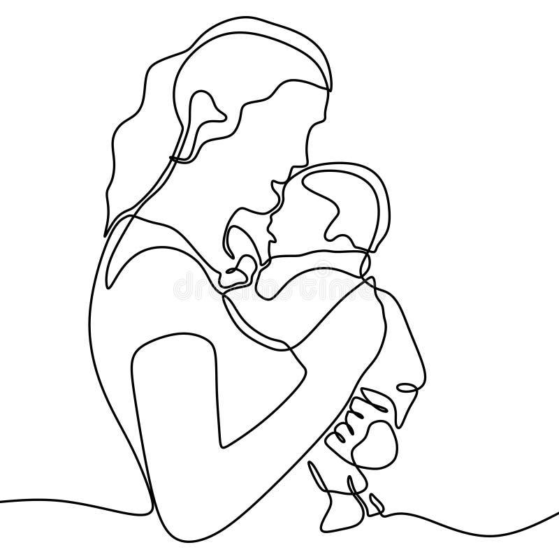 De de ononderbroken moeder en baby van de lijntekening Zij kust haar mooie held royalty-vrije illustratie