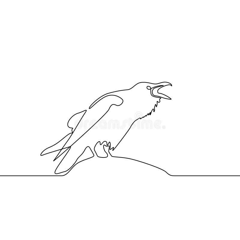 De ononderbroken Raaf van de lijntekening Logo Concept Vector illustratie royalty-vrije illustratie