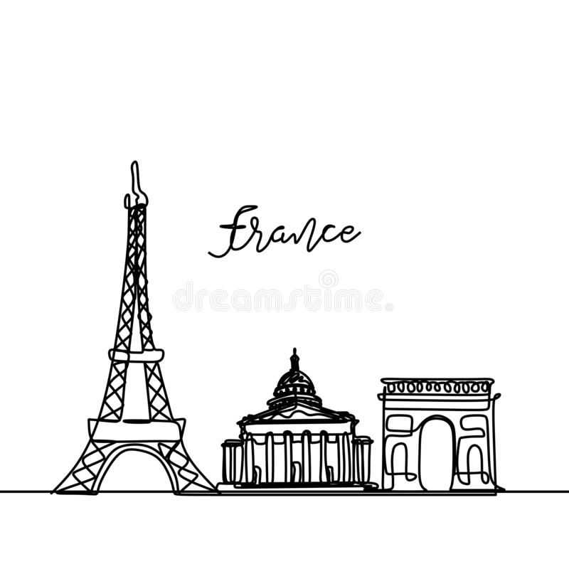 De ononderbroken tekening van Frankrijk Één de stadshorizon van Parijs van de lijnstijl Eenvoudige moderne minimalistic stijlvect vector illustratie