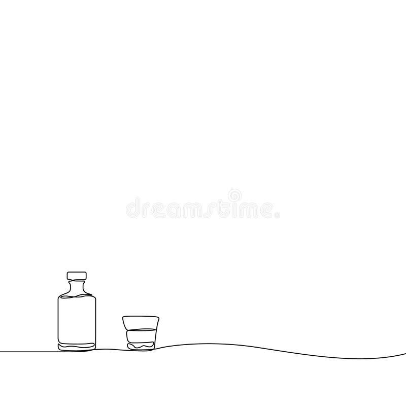 De ononderbroken Whisky van de lijntekening en een glas Vector illustratie vector illustratie