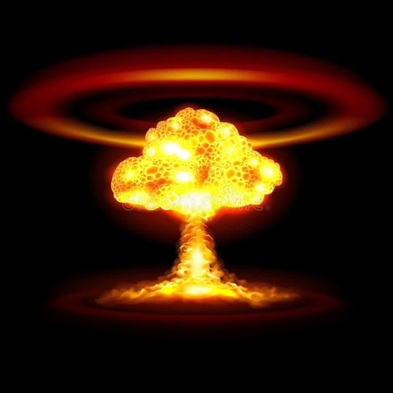 De ontploffing van de atoombom in woestijn vector illustratie