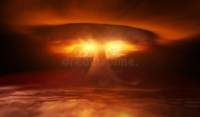 De ontploffing van de atoombom in woestijn stock illustratie