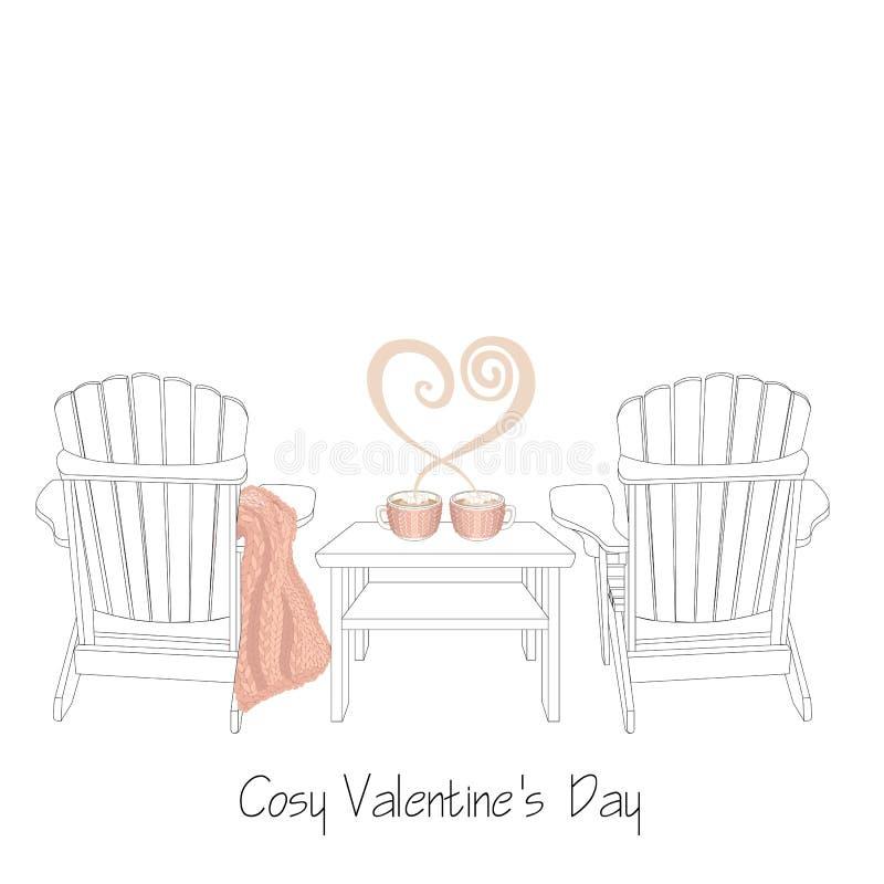 De ontspannen illustratie van de de valentijnskaart` s dag van huisheilige Twee openlucht houten stoelen met gebreide plaid royalty-vrije illustratie