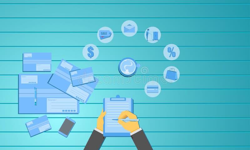 De ontvangen pakketten van het handteken document Bedrijfs marketing concept Vector illustratie EPS10 royalty-vrije illustratie