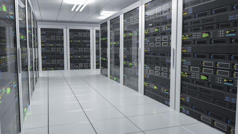 De ontvangende diensten Servers in datacenter 3D teruggegeven illustratie stock illustratie