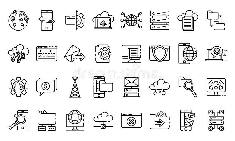 De ontvangende geplaatste pictogrammen, schetsen stijl stock illustratie