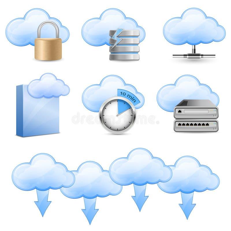 De Ontvangende Pictogrammen van de wolk vector illustratie