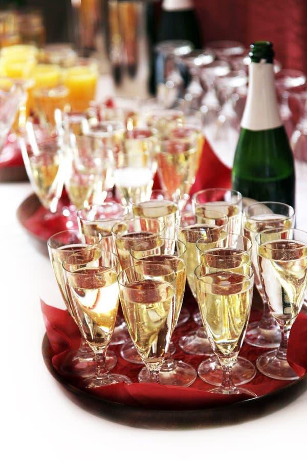 De ontvangst van Champagne met champagne royalty-vrije stock foto's