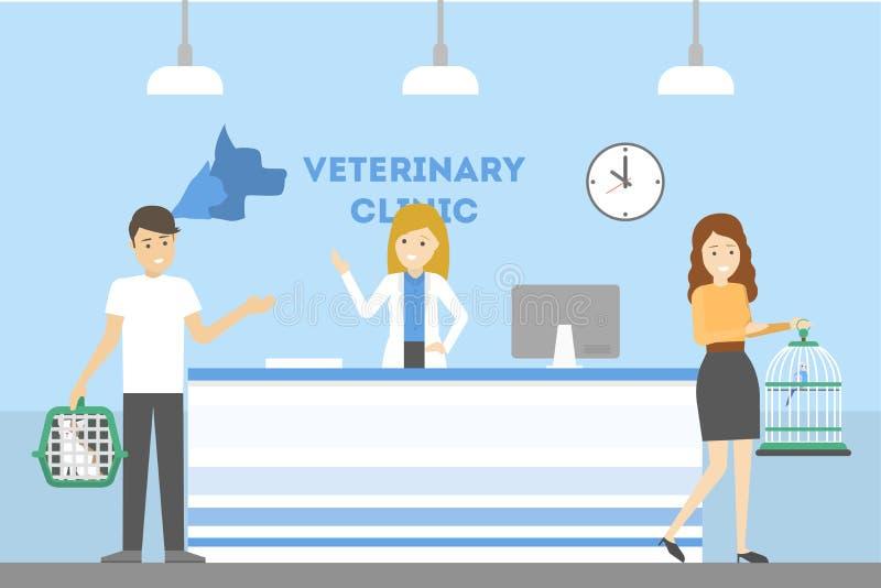 De ontvangst van de dierenartskliniek vector illustratie