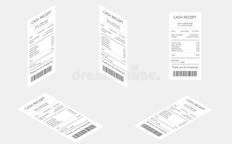 De ontvangstbewijzen van de kassaverkoop op thermisch gerold document worden gedrukt dat Verkoop gedrukt ontvangstbewijs Rekening vector illustratie