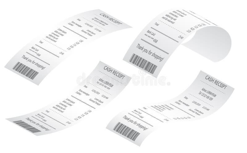 De ontvangstbewijzen van de kassaverkoop op thermische gerolde document realistische steekproeven worden gedrukt die vector illustratie