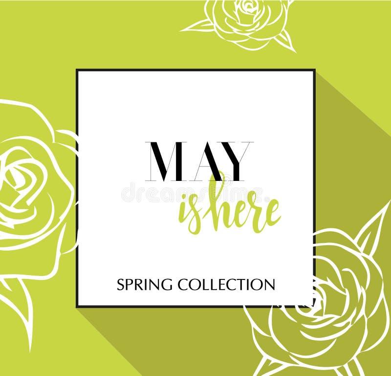 De ontwerpbanner met het van letters voorzien Mei is hier embleem Kalk groene Kaart voor lentetijd met zwarte kader en wthite roz stock illustratie