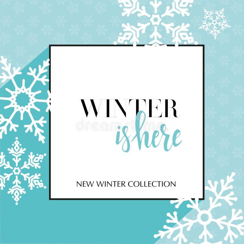 De ontwerpbanner met het van letters voorzien de winter is hier embleem Lichtblauwe Kaart voor seizoenverkoop met zwart kader en  vector illustratie