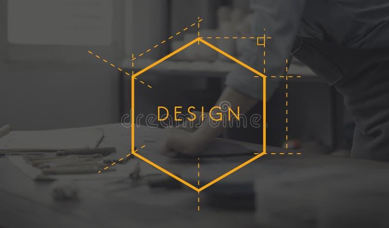 De ontwerpcreativiteit leidt tot het Met de hand gemaakte Concept van het Ideeënaardewerk royalty-vrije illustratie