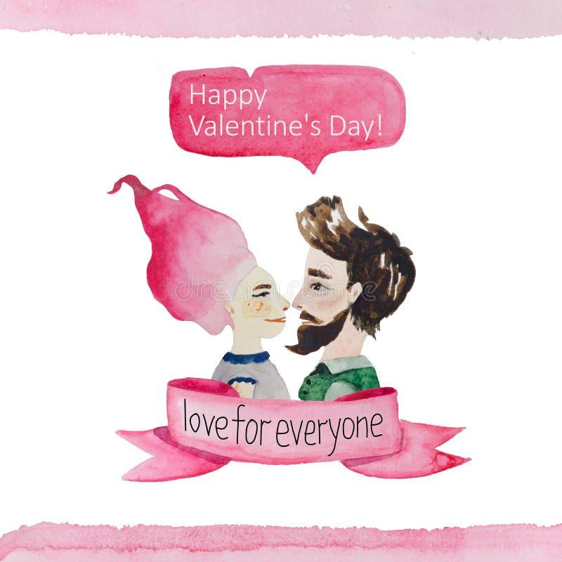 De ontwerpen van de groetkaart voor de dag van Valentine ` s vector illustratie