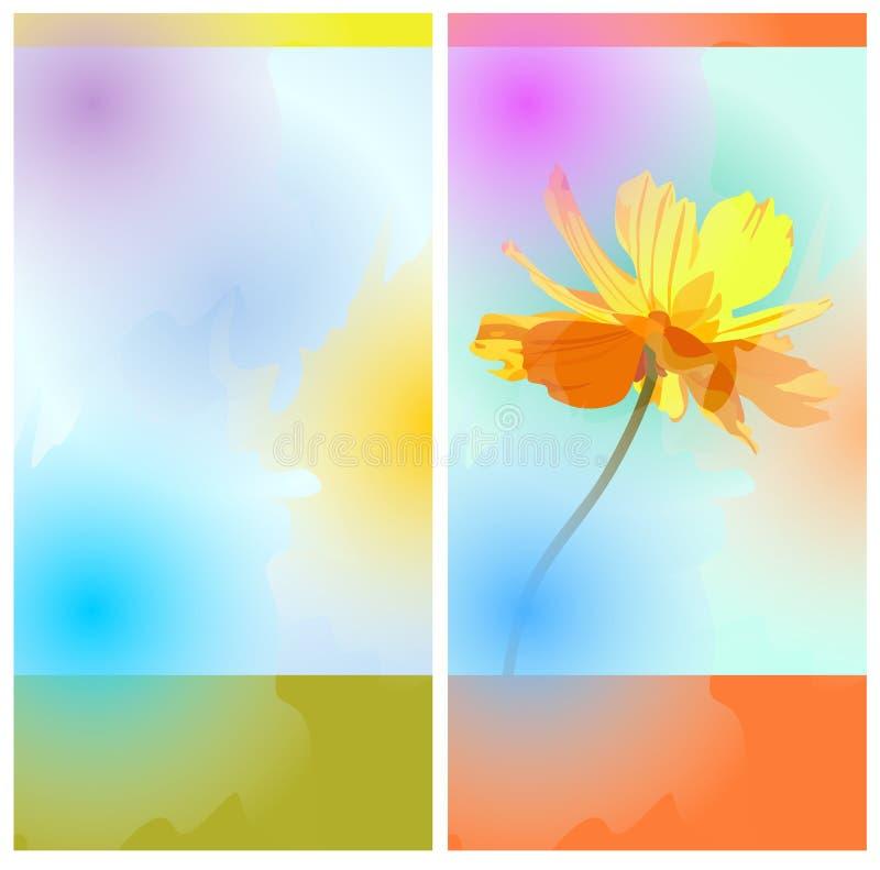 De ontwerpen van het chocoladereeppakket met bloem en kleurrijke vlekken in waterverfstijl De kaart van de groet of van de uitnod stock illustratie