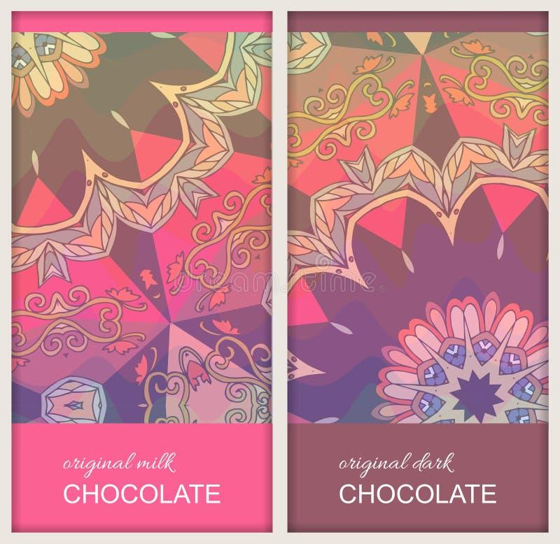 De ontwerpen van het chocoladereeppakket met etnisch ornament met mandalabloem Mooie inzameling Gemakkelijk editable verpakkend m royalty-vrije illustratie
