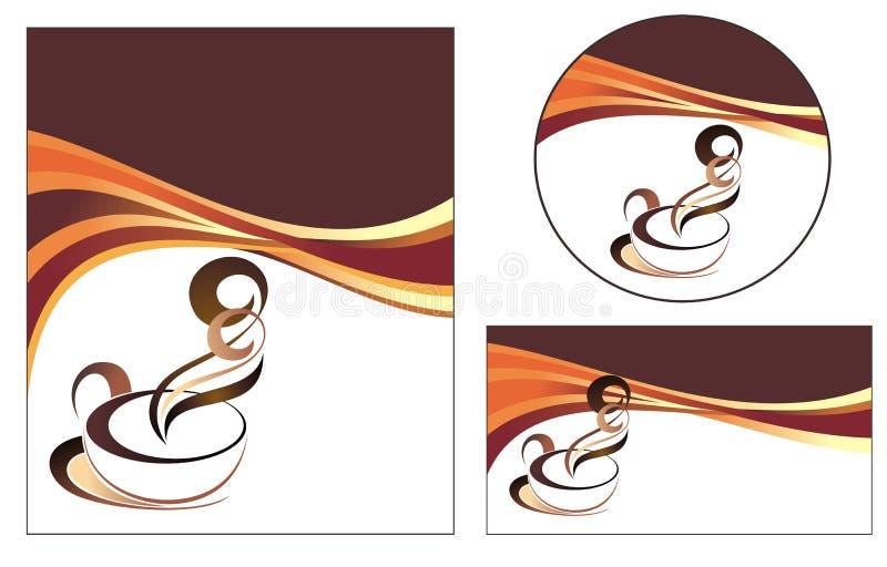 De ontwerpen van het malplaatje van menu en adreskaartje voor cof vector illustratie