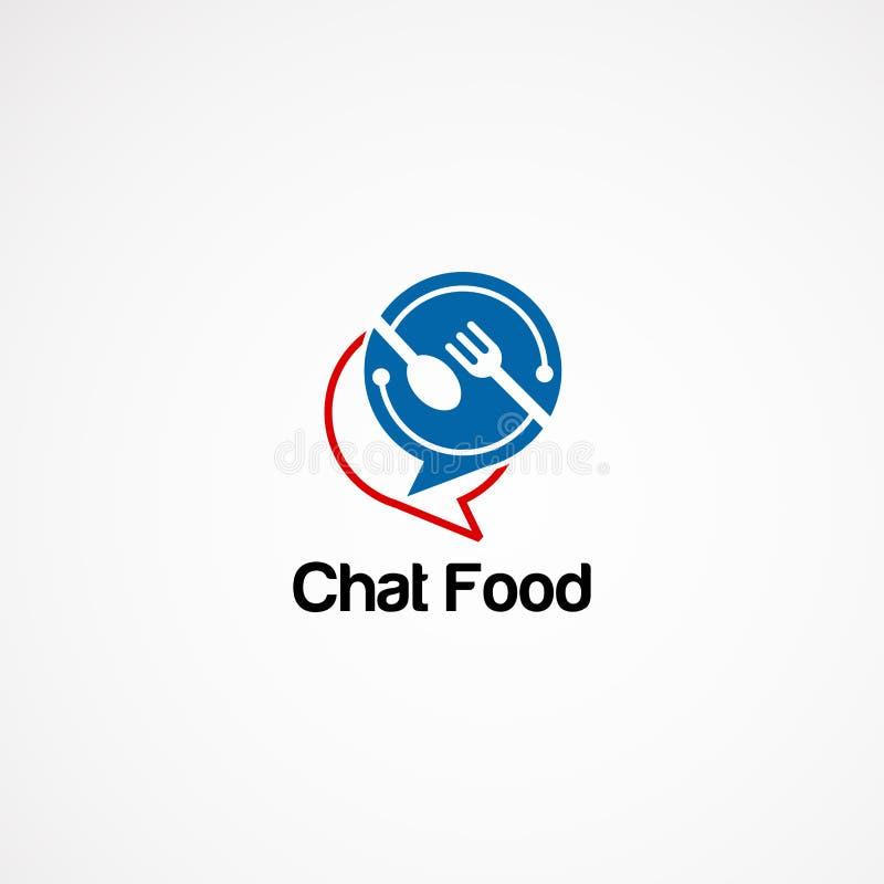 De ontwerpen van het het voedselembleem van het Technopraatje voor bedrijf royalty-vrije illustratie