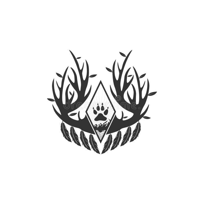 De ontwerpeninspiraties van het geweitakkenembleem vector illustratie