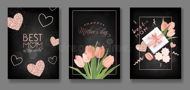 De Ontwerpset van de de Groetkaart van de moedersdag De gelukkige Vlieger van de Moederdag met Bloemen, Giften en Gouden schitter royalty-vrije illustratie