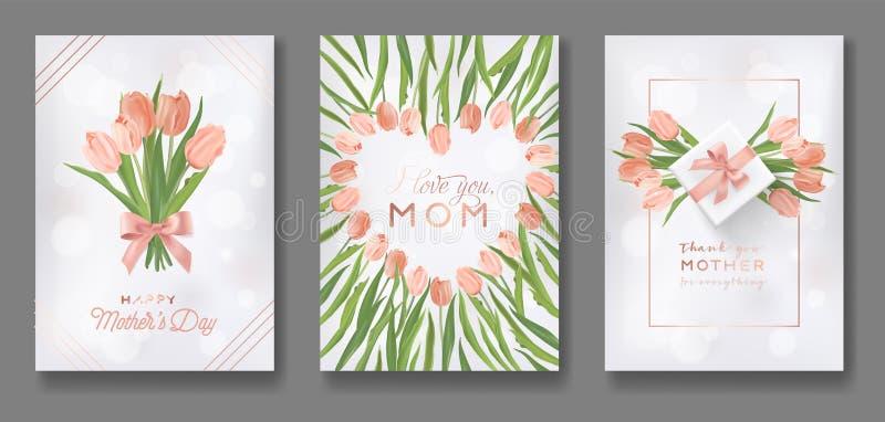 De Ontwerpset van de de Groetkaart van de moedersdag De gelukkige Vlieger van de Moederdag met Tulip Flowers, Giften en Gouden sc vector illustratie