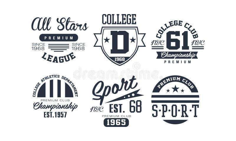 De ontwerpset van het de clubembleem van de sportuniversiteit, uitstekend premiekampioenschap, het embleem van de sportclub of ke stock illustratie